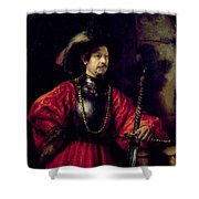 Portrait Of A Man In Military Costume Shower Curtain
