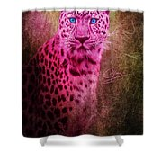 Portrait Of A Pink Leopard Shower Curtain