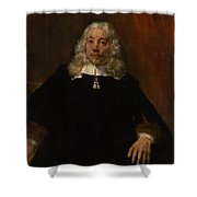 Portrait Of A White-haired Man Shower Curtain