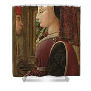 Portrait Of A Woman With A Man At A Casement Shower Curtain