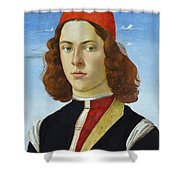 Portrait Of A Young Man Ghirlandaio Shower Curtain