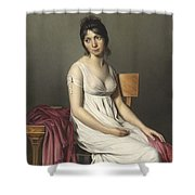 Portrait Of A Young Woman In White Shower Curtain by Jacques Louis David