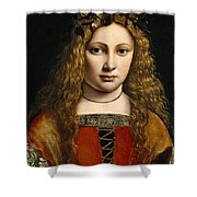 Portrait Of A Youth Crowned With Flowers Shower Curtain by Giovanni Antonio Boltraffio
