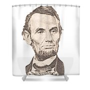 Portrait Of Abraham Lincoln On White Background Shower Curtain