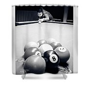 Portrait Of An Awesome Pool Player Shower Curtain