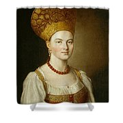 Portrait Of An Unknown Woman In Russian Costume Shower Curtain