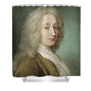 Portrait Of Antoine Watteau 1684-1721 Pastel On Paper Shower Curtain