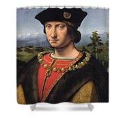 Portrait Of Charles Damboise 1471-1511 Marshal Of France Oil On Panel Shower Curtain