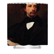 Portrait Of Charles Dickens Shower Curtain by Ary Scheffer