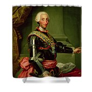 Portrait Of Charles IIi 1716-88 C.1761 Oil On Canvas Shower Curtain