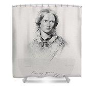 Portrait Of Charlotte Bronte, Engraved Shower Curtain