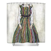 Portrait Of Edith Schiele, The Artists Shower Curtain