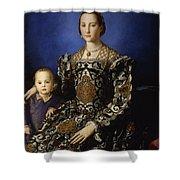 Portrait Of Eleanor Of Toledo With Her Son Giovanni De' Medici Shower Curtain