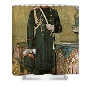 Portrait Of Emperor Nicholas II 1868-1918 1895 Oil On Canvas Shower Curtain