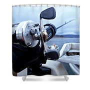 Portrait  Of Fishing Reel On Boat While Shower Curtain