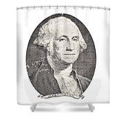 Portrait Of George Washington On White Background Shower Curtain