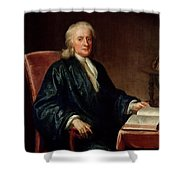 Portrait Of Isaac Newton Shower Curtain
