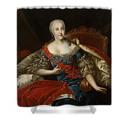 Portrait Of Johanna-elizabeth, Electress Of Anhalt-zerbst, C.1746 Oil On Canvas Shower Curtain