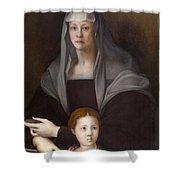Portrait Of Maria Salviati De' Medici With Giulia De' Medici Shower Curtain