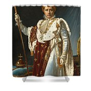 Portrait Of Napoleon In Coronation Robes Shower Curtain