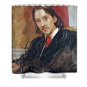 Portrait Of Robert Louis Stevenson 1850-1894 1886 Oil On Canvas Shower Curtain