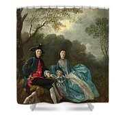 Portrait Of The Artist With His Wife And Daughter Shower Curtain