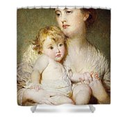 Portrait Of The Duchess Of St Albans With Her Son Shower Curtain