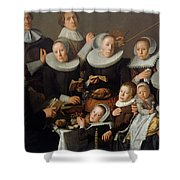 Portrait Of The Painter Andries Van Bochoven And His Family Shower Curtain