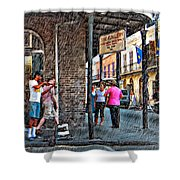 Portrait Of The Street Musician Sketch  Shower Curtain