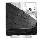 Portside Bw Queen Mary Ocean Liner Long Beach Ca Shower Curtain
