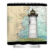 Portsmouth Harbor Lighthouse Nh Nautical Chart Map Art Shower Curtain