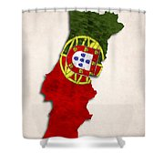 Portugal Map Art With Flag Design Shower Curtain