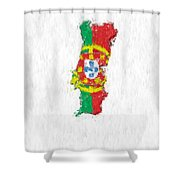 Portugal Painted Flag Map Shower Curtain