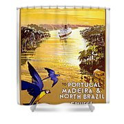 Portugal Vintage Travel Poster Shower Curtain