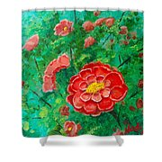 Posie In Red Shower Curtain