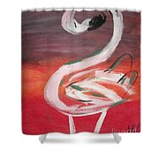 Posing Flamingo Shower Curtain
