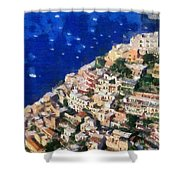 Positano Town In Italy Shower Curtain