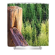 Post And Rail At Sunset Shower Curtain
