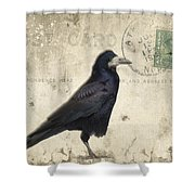 Post Card Nevermore Shower Curtain by Edward Fielding