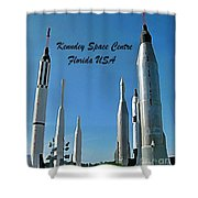 Post Card Of The Kennedy Space Centre Florida Shower Curtain