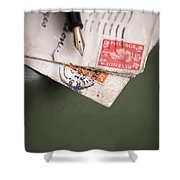 Post Cards And Fountain Pen Shower Curtain