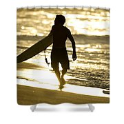 Post Surf Gold Shower Curtain