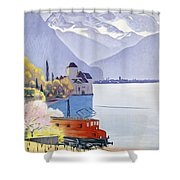 Poster Advertising Rail Travel Around Lake Geneva Shower Curtain