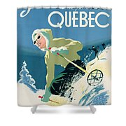Poster Advertising Skiing Holidays In The Province Of Quebec Shower Curtain