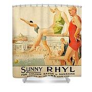 Poster Advertising Sunny Rhyl  Shower Curtain