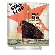 Poster Advertising The Red Star Line Shower Curtain