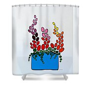 Potted Blooms - Blue Shower Curtain