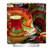 Pottery For Sale At A Market Stall Shower Curtain