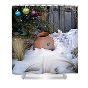 Pottery In Snow At Xmas Shower Curtain