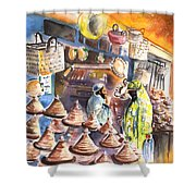 Pottery Seller In Essaouira Shower Curtain